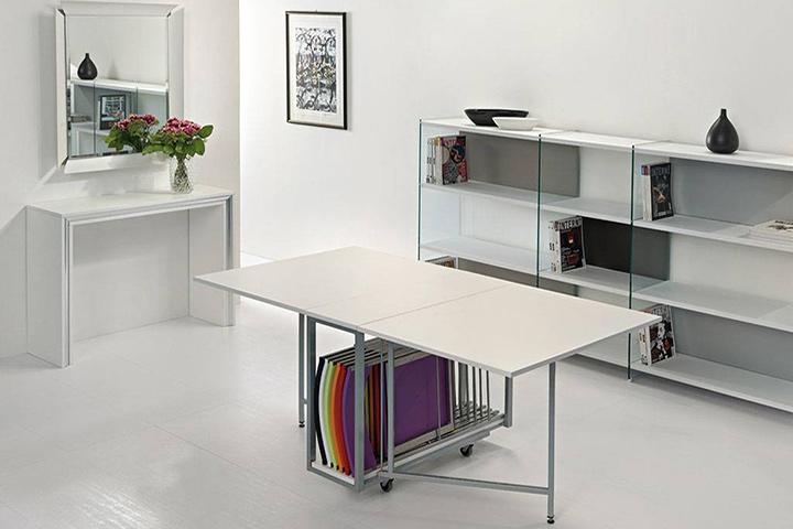 Tavolo consolle moderna archimede con tavolo richiudibile e 6 sedie pieghevoli - Tavolo consolle allungabile con sedie ...