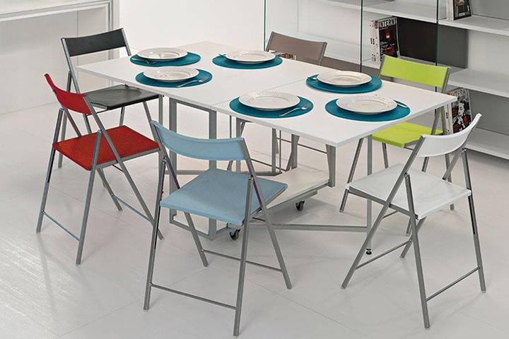 Tavolo consolle moderna archimede con tavolo richiudibile for Tavolo consolle con sedie