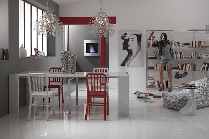 Tavolo consolle allungabile moderna net sala da pranzo for Consolle da salotto